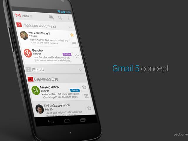 Gmail 5 Concept : la boite de réception