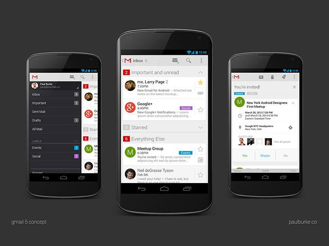 Gmail 5 Concept : le menu, la boite de réception et un message
