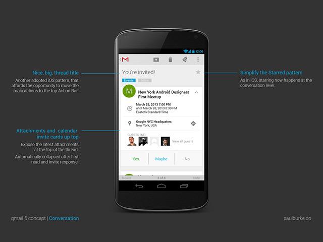 Gmail 5 Concept : l'affichage d'un message