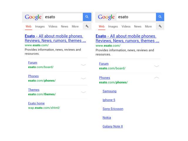 Sitelinks Google Mobile