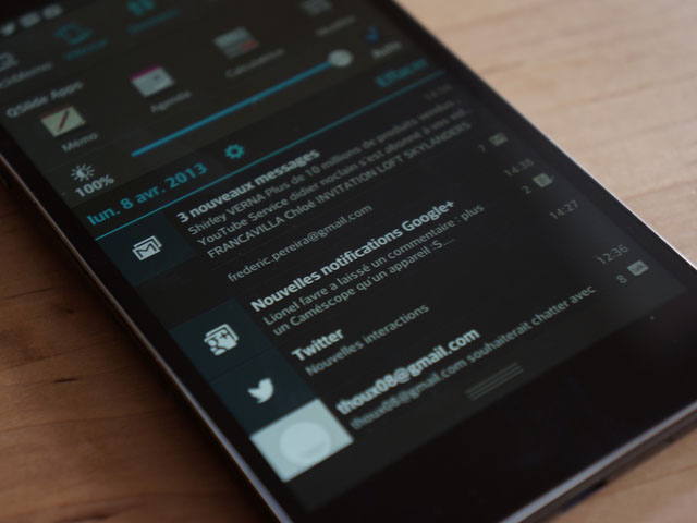 LG Optimus G : le centre de notifications