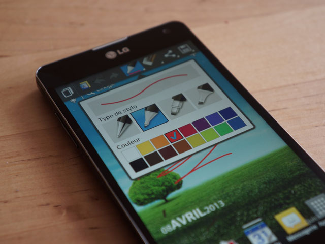 LG Optimus G : les options de Quick Memo