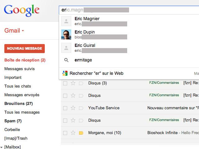 Nouvelles fonctions de recherche Gmail