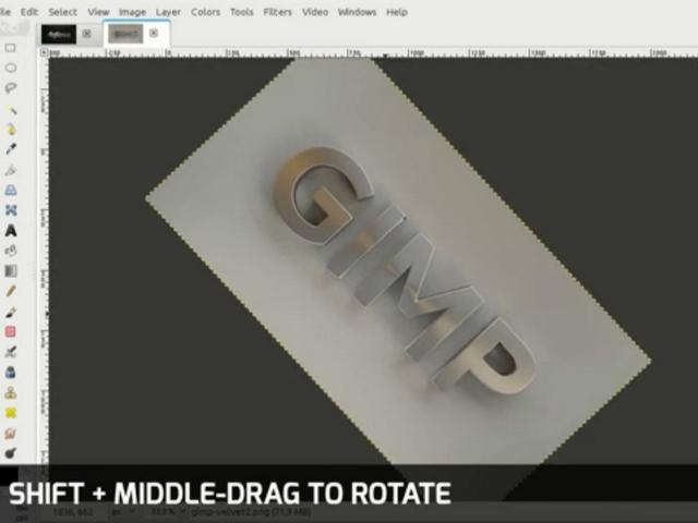La rotation du canevas dans GIMP