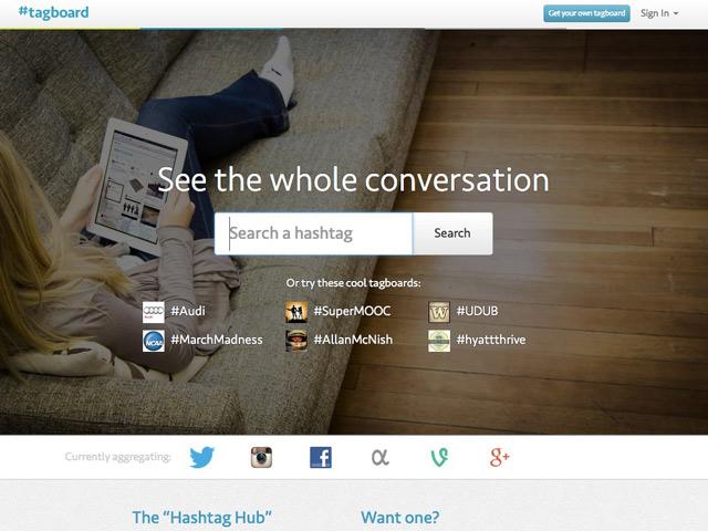 Tagboard : la page d'accueil