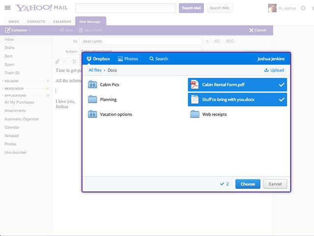 Dropbox dans Yahoo Mail
