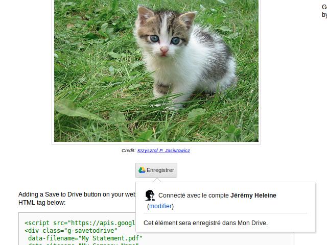 """Un bouton """"Sauvegarder sur Google Drive"""""""