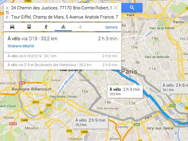 Itinéraires vélo Google Maps Europe