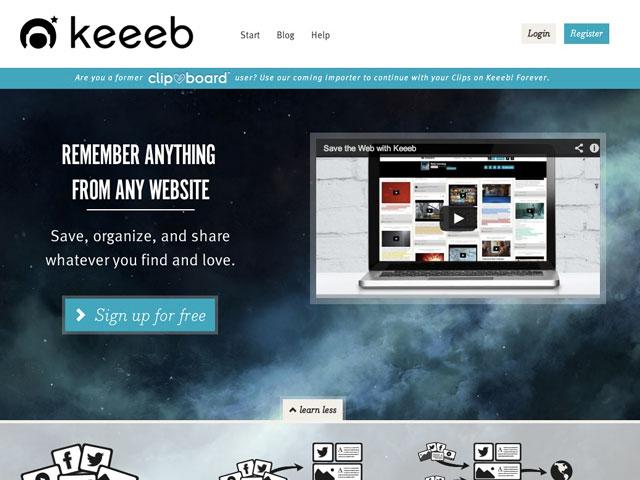 Keeeb : la page d'accueil