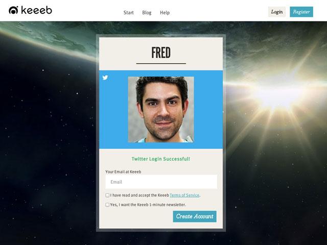 Keeeb : la création du compte