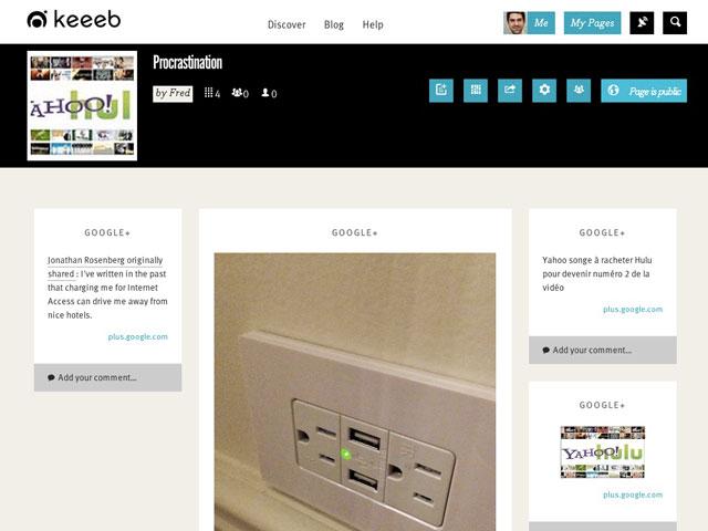 Keeeb : la page de l'utilisateur