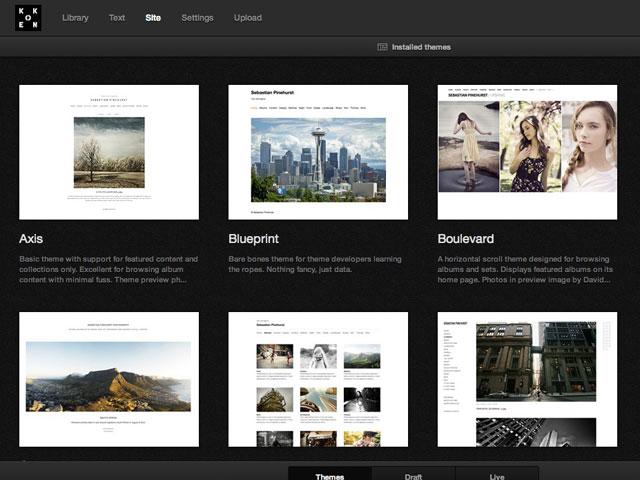Koken : une première capture pour la personnalisation du site