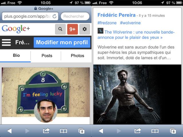 Google+ : nouvelle version mobile
