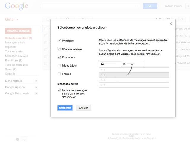 Gmail : activation de la nouvelle boite de réception