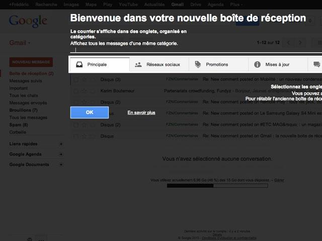 Gmail : le message d'accueil