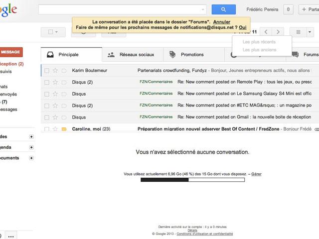 Gmail : la création d'une règle à la volée
