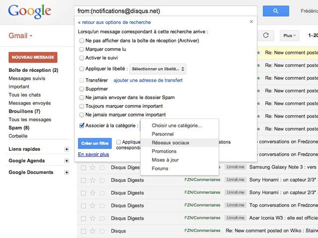 Gmail : la création d'un filtre