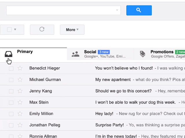 Nouvelle boite de réception Gmail