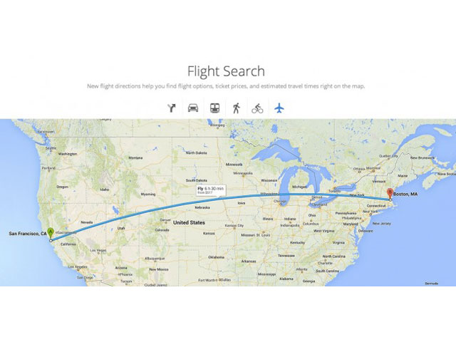 Google Maps : intégration de Google Flight Search