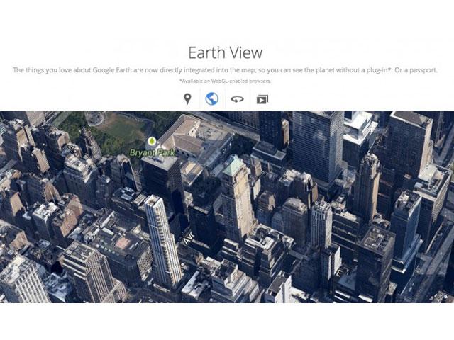 Google Maps : intégration de Google Earth
