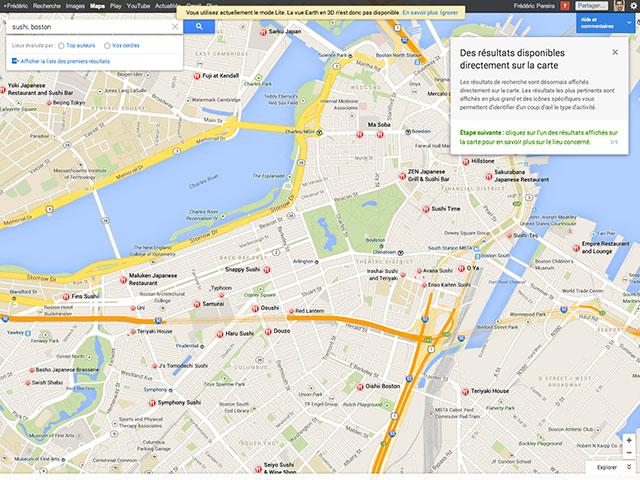 Google Maps : la recherche