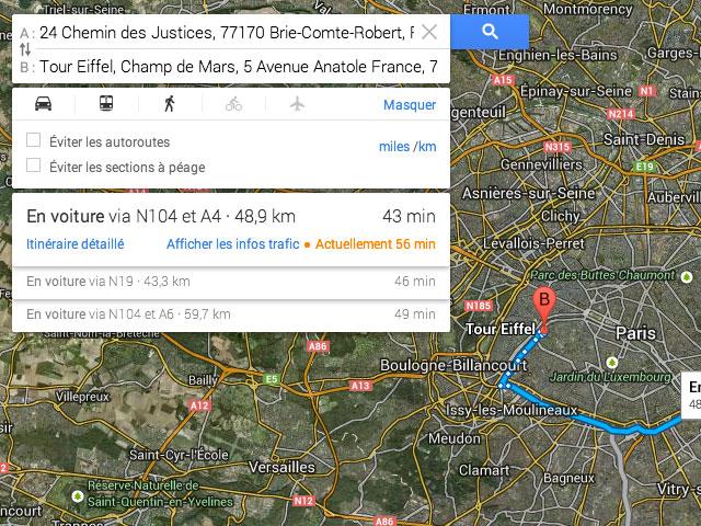 Google Maps : les cartes des itinéraires