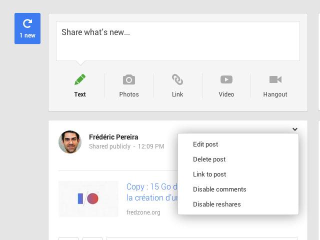 Google+ : une première image pour la présentation du contenu