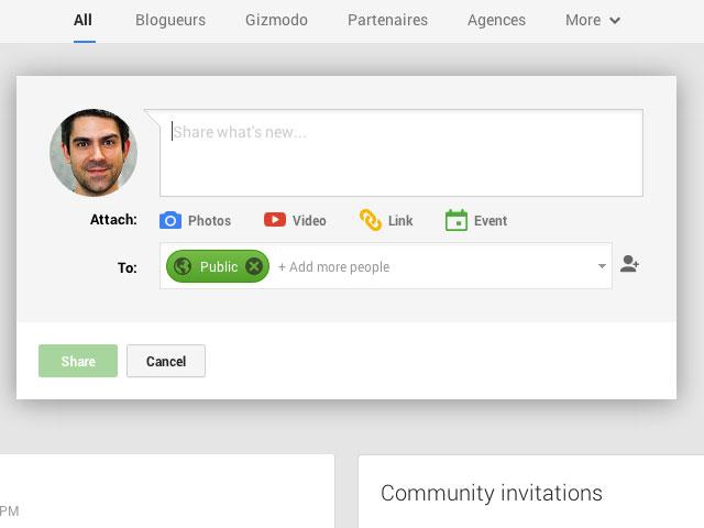 Google+ : une première image pour la publication de contenu
