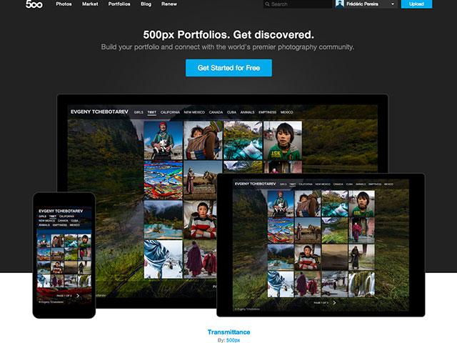 Portfolios 500px : la page d'accueil