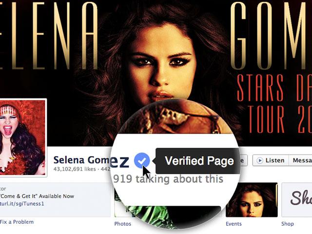 Profils et pages vérifiés sur Facebook