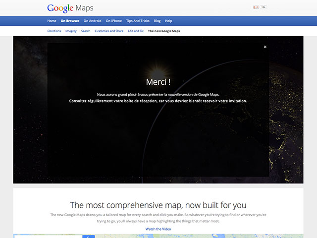 Tester la nouvelle version de Google Maps