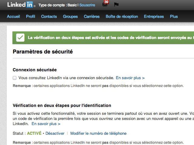 Vérification deux étapes LinkedIn
