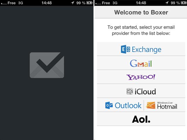 Boxer : l'écran de chargement et le paramétrage du compte