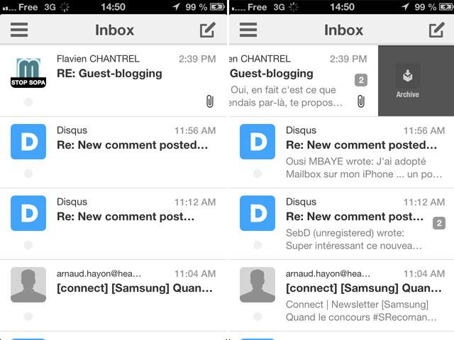 Boxer : la gestion des messages