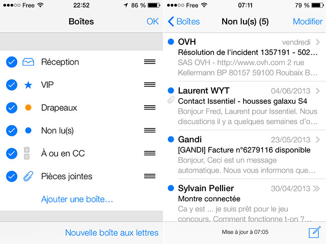 Dossiers intelligents Mail iOS 7