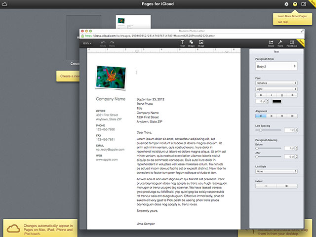 iWork sur iCloud : le traitement de texte