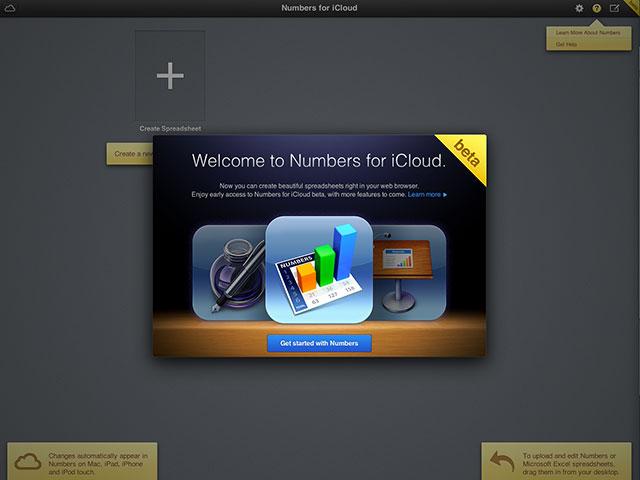 iWork sur iCloud : Numbers