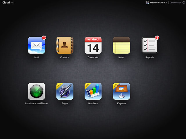 iWork sur iCloud : la page d'accueil