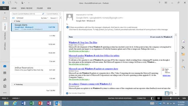 Outlook 2013 RT : une première capture