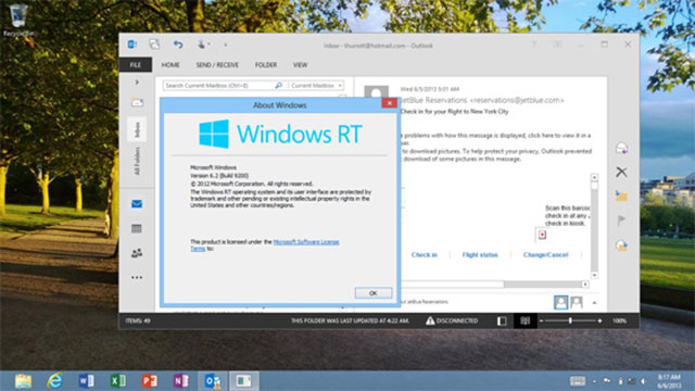 Outlook 2013 RT : une seconde capture