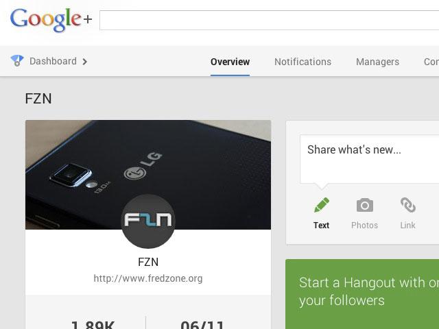 Tableau de bord Google+