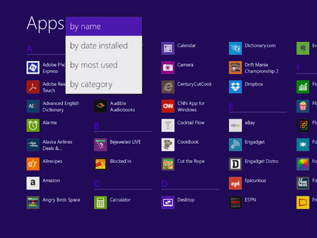 Windows 8.1 : les filtres des applications