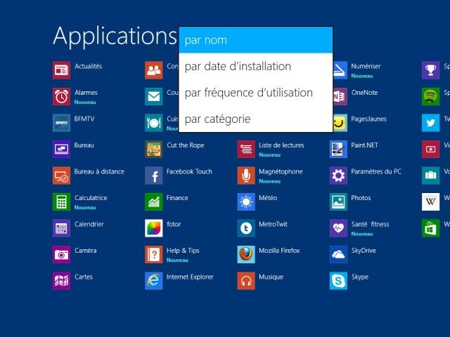 Windows 8.1 : la liste des applications