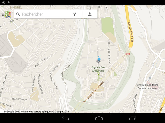 Google Maps Android : un plan, en mode paysage