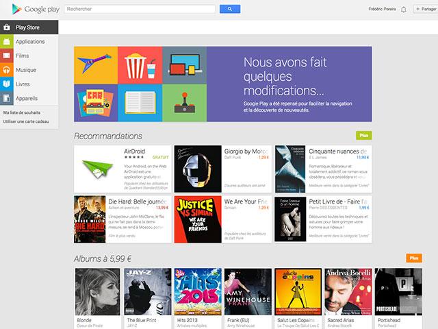 Nouveau Google Play Store : la page d'accueil