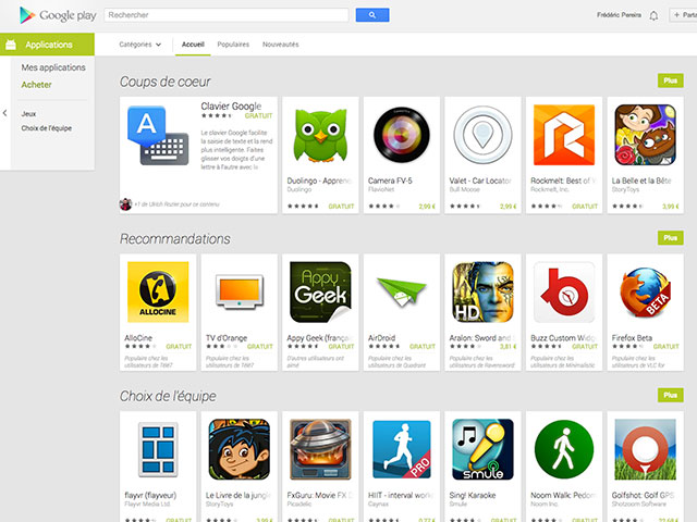 Nouveau Google Play Store : la liste des applications