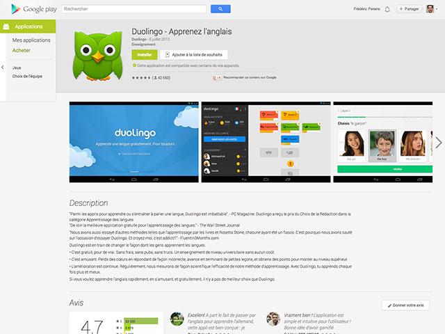 Nouveau Google Play Store : la fiche d'une application