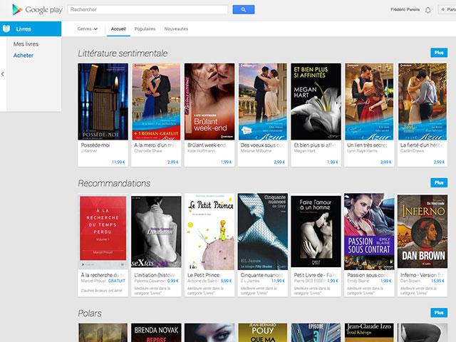 Nouveau Google Play Store : les livres