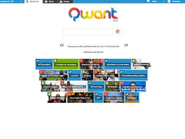 Qwant : la page d'accueil