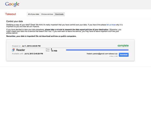 Récupérer données Google Reader